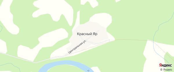 Карта поселка Красного Яра в Томской области с улицами и номерами домов