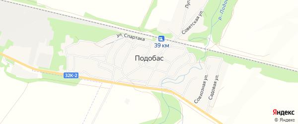 Карта поселка Подобаса города Мыски в Кемеровской области с улицами и номерами домов