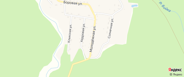 Молодежная улица на карте села Бийки Алтая с номерами домов