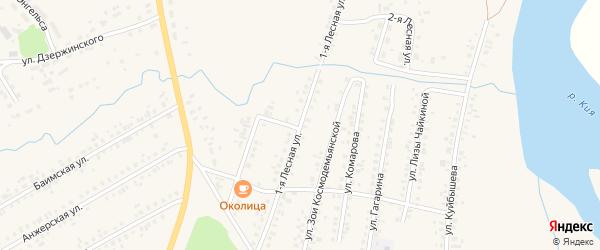 Лесная 1-я улица на карте Мариинска с номерами домов