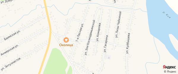 Улица З.Космодемьянской на карте Мариинска с номерами домов