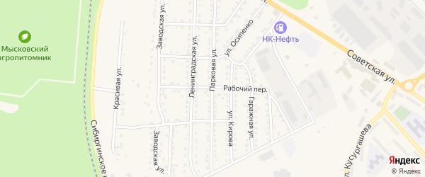Рабочий переулок на карте Мыски с номерами домов