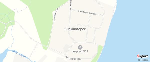 Карта поселка Снежногорска города Норильска в Красноярском крае с улицами и номерами домов