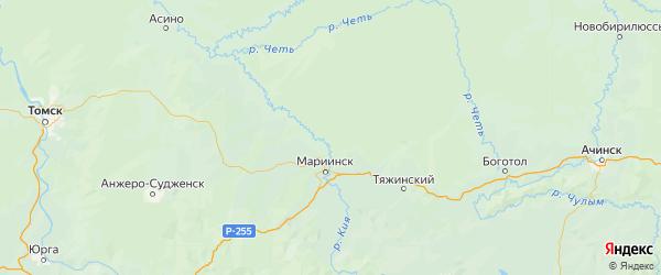 Карта Мариинского района Кемеровской области с городами и населенными пунктами