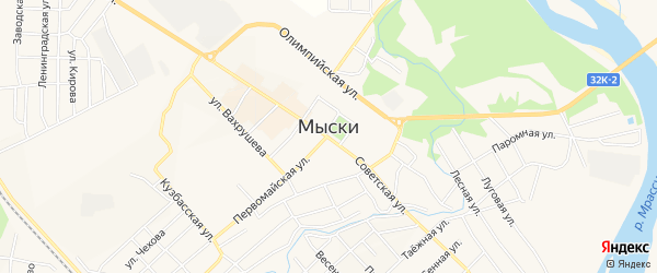 Карта поселка Аксаса города Мыски в Кемеровской области с улицами и номерами домов