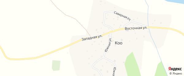 Западная улица на карте села Коо Алтая с номерами домов