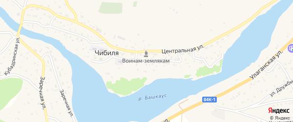Набережная улица на карте села Чибили Алтая с номерами домов