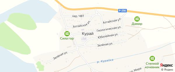 Геологическая улица на карте села Курая Алтая с номерами домов