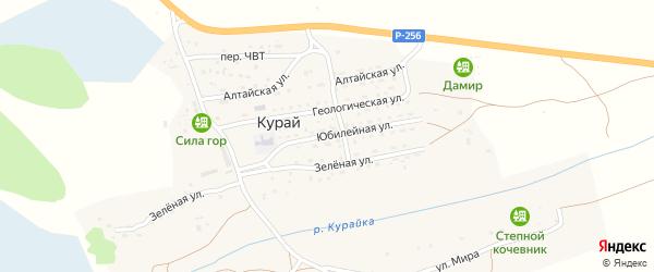 Юбилейная улица на карте села Курая Алтая с номерами домов