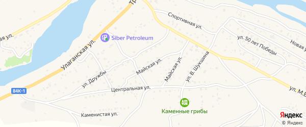 Майская улица на карте села Улагана Алтая с номерами домов