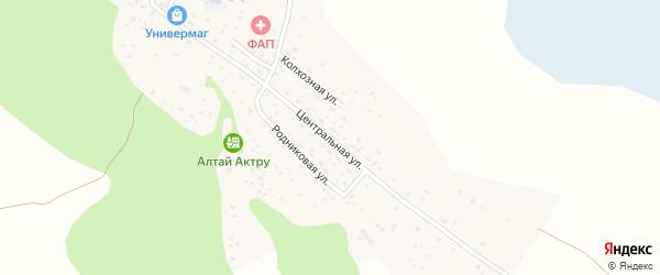 Центральная улица на карте села Кызыла-Таш Алтая с номерами домов