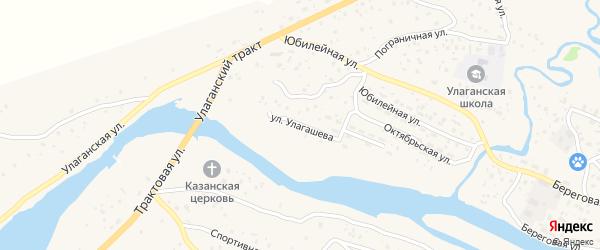Улица Улагашева на карте села Улагана Алтая с номерами домов