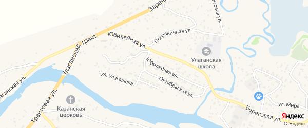 Юбилейная улица на карте села Улагана Алтая с номерами домов
