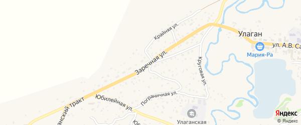 Заречная улица на карте села Улагана Алтая с номерами домов