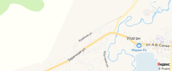 Крайняя улица на карте села Улагана с номерами домов