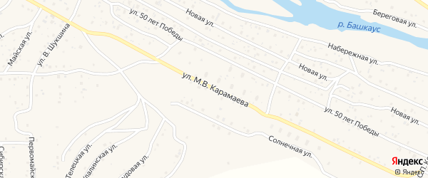 Улица М.В.Карамаева на карте села Улагана Алтая с номерами домов