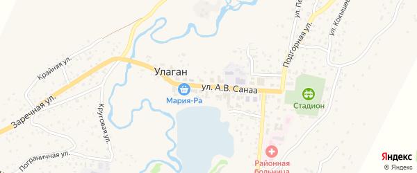 Улица А.В.Санаа на карте села Улагана Алтая с номерами домов