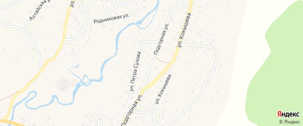 Подгорная улица на карте села Улагана Алтая с номерами домов