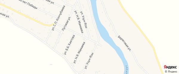Улица Узун-Язы на карте села Улагана Алтая с номерами домов