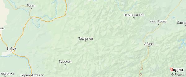 Карта Таштагольского района Кемеровской области с городами и населенными пунктами