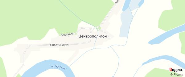 Карта поселка Центрополигона в Томской области с улицами и номерами домов