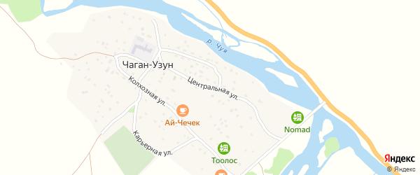 Центральная улица на карте села Чагана-Узуна Алтая с номерами домов