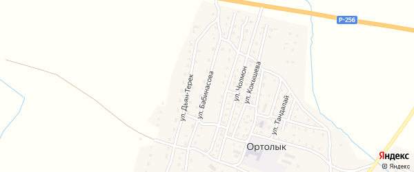 Улица Бабинасова на карте села Ортолыка Алтая с номерами домов