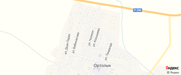 Улица Чолмон на карте села Ортолыка Алтая с номерами домов