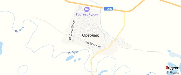 Карта села Ортолыка в Алтае с улицами и номерами домов