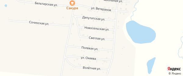 Светлая улица на карте села Коша-Агача Алтая с номерами домов