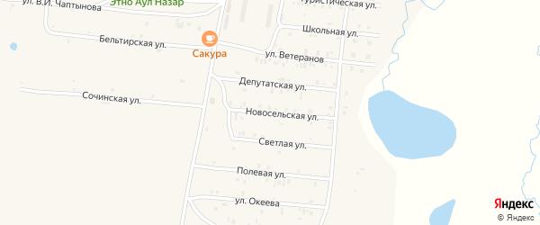 Новосельская улица на карте села Коша-Агача Алтая с номерами домов