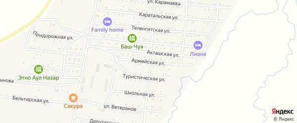 Армейская улица на карте села Коша-Агача Алтая с номерами домов
