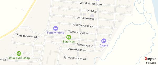 Теленгитская улица на карте села Коша-Агача Алтая с номерами домов