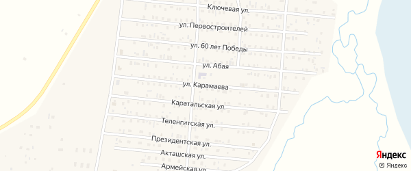 Улица Карамаева на карте села Коша-Агача Алтая с номерами домов