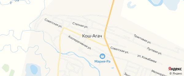 Карта села Коша-Агача в Алтае с улицами и номерами домов