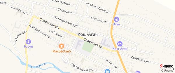 Придорожная улица на карте села Коша-Агача Алтая с номерами домов