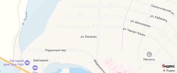 Улица Балахан на карте села Коша-Агача Алтая с номерами домов