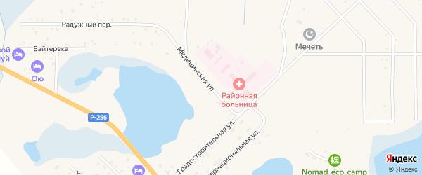 Медицинская улица на карте села Коша-Агача Алтая с номерами домов