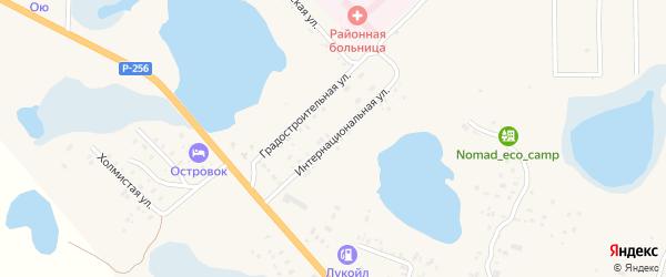 Интернациональная улица на карте села Коша-Агача Алтая с номерами домов