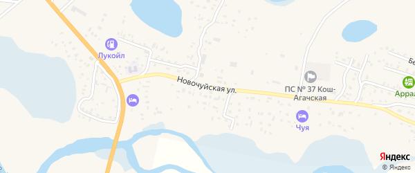 Новочуйская улица на карте села Коша-Агача Алтая с номерами домов