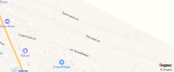Луговая улица на карте села Коша-Агача Алтая с номерами домов