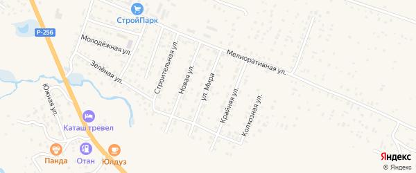 Улица Мира на карте села Коша-Агача Алтая с номерами домов