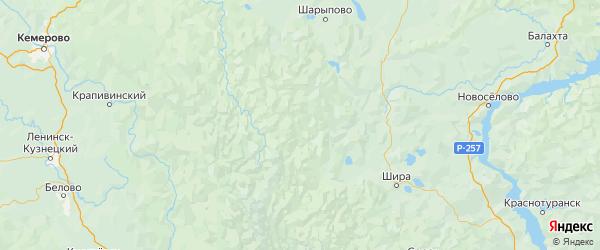 Карта Орджоникидзевского района Республики Хакасии с городами и населенными пунктами