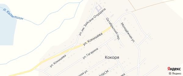 Октябрьский переулок на карте села Кокори с номерами домов
