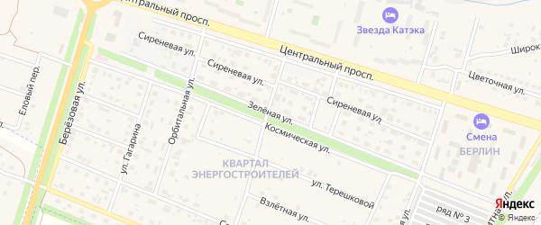 Зелёная улица на карте квартала Энергостроителея с номерами домов