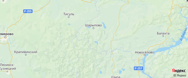 Карта Шарыповского района Красноярского края с городами и населенными пунктами