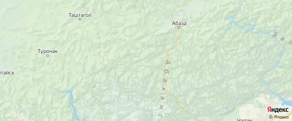 Карта Таштыпского района Республики Хакасии с городами и населенными пунктами