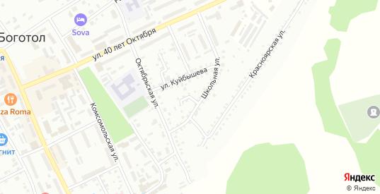 Школьный 1-й переулок в Боготоле с номерами домов на карте. Спутник и схема онлайн