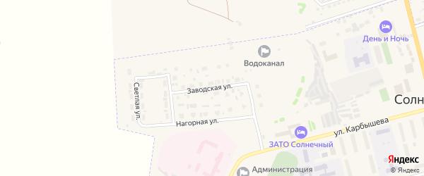 Заводская улица на карте Солнечного поселка с номерами домов