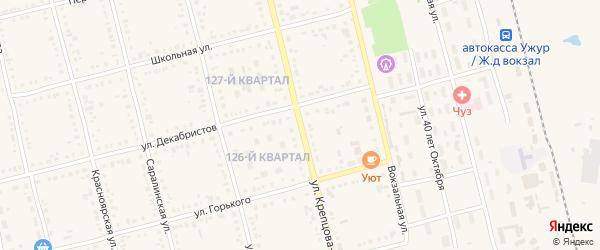Улица Крепцова-Зайченко на карте Ужура с номерами домов